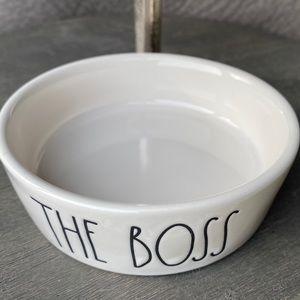 """NEW - Rae Dunn - THE BOSS - cute 5"""" Pet Bowl/Dish"""